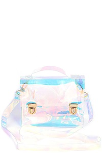 TRENDY CLEAR HOLOGRAM TINT SATCHEL BAG
