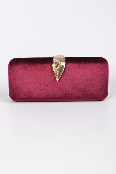 Rectangular Clutch With Leef Detail