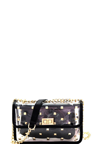 Studded Transparent Clear 2 in 1 Shoulder Bag