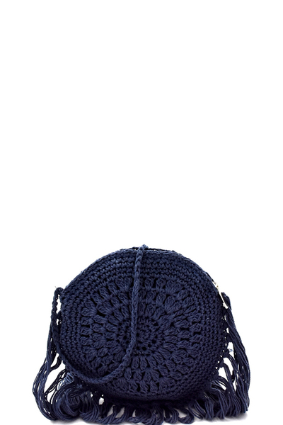 Fringe Accent Knitted Round Cross Body