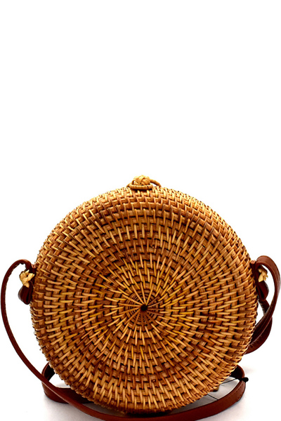 Woven Bamboo Round Shoulder Bag