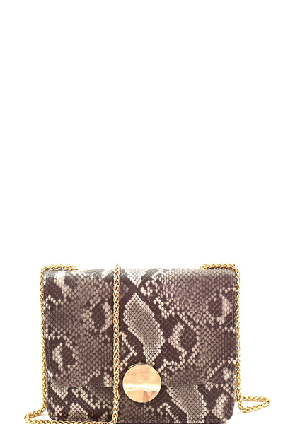 Hardware Accent Snake Print Shoulder Bag