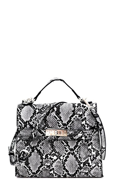 Snake Print Turn-Lock Medium Satchel Shoulder Bag