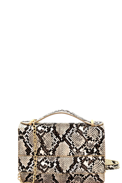 Snake Print Small Flap Satchel Shoulder Bag