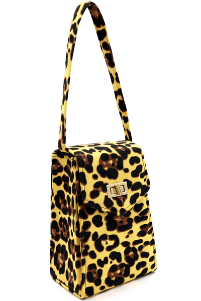 Suede Leopard Tall Box Top-Handle Satchel Clutch