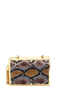 Metal Tassel Accent Snake Print Hard Frame Evening Clutch
