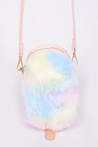 Cotton Candy Faux Fur Clutch