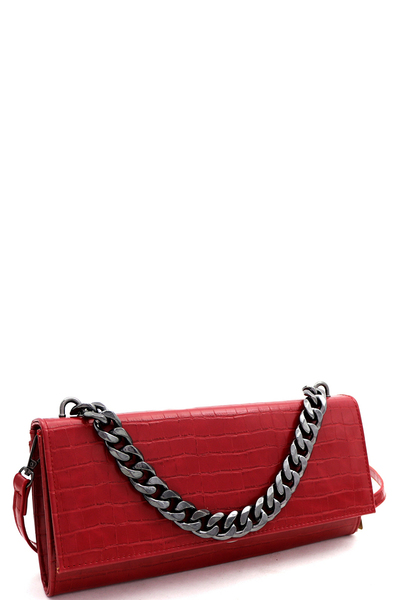 Chain Accent Crocodile Print 2-Way Clutch Shoulder Bag