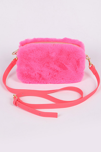 Neon Faux-Fur Boxy Cross Body