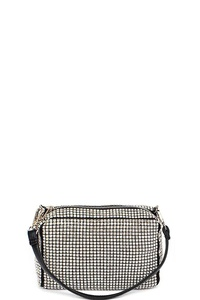 MODERN MULTI RHINESTONE CROSSBODY WITH TWO STRAPS