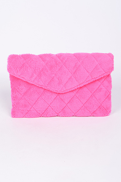 Faux Fur Diamond Threaded Clutch