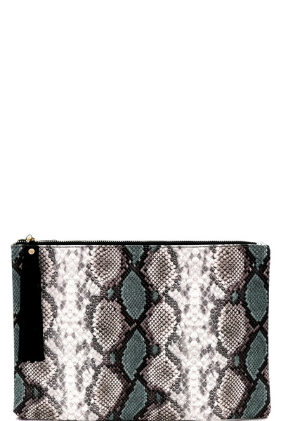 Tassel Accent Snake Print Oversized Hand Clutch