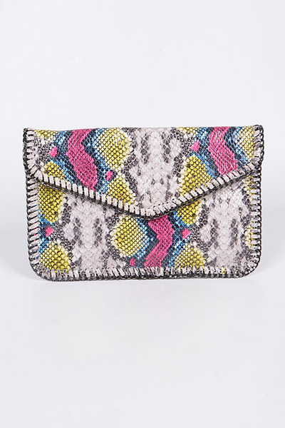Mini Chainlink Snakeskin Clutch
