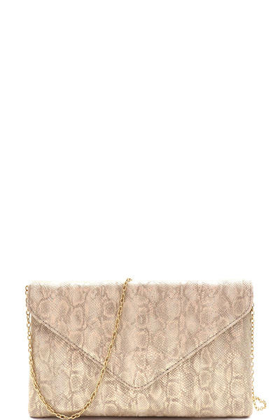 Metallic Snake Print Envelope Clutch