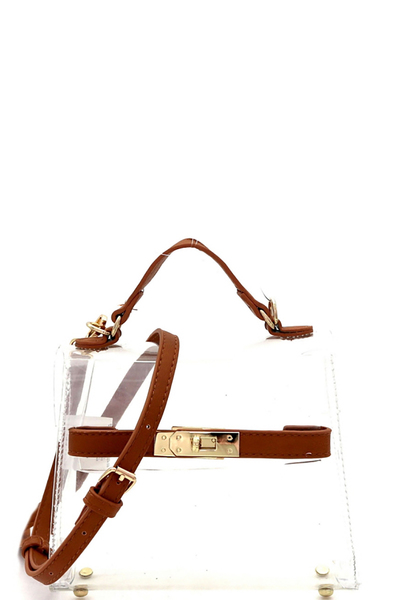 Transparent Clear Turn-Lock Medium Satchel