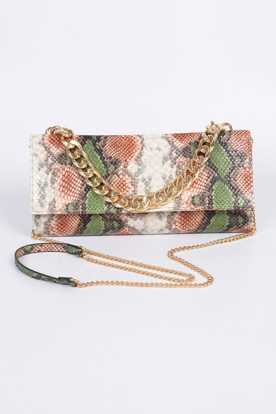 Chained Snakeskin Mini Clutch