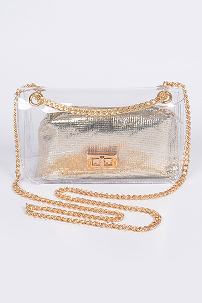 Clear Pvc Clutch With Shiny Pouch