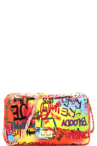 Graffiti Effect Medium 2 Way Turn-lock Shoulder Bag