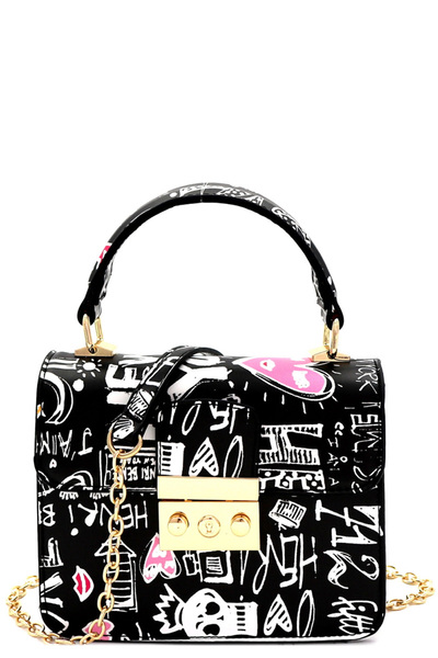 Graffiti Effect Small Pinch-Lock Boxy Flap Satchel