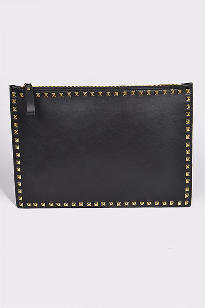 Studded With Zipper Leather Clutch