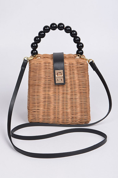 Straw Leather Strap Body Toe Bag