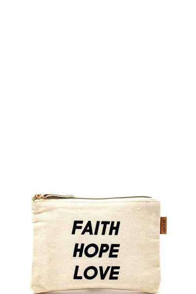 FAITH HOPE LOVE PRINT CANVAS ECCO CLUTCH