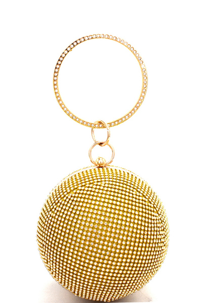 Allover Sparkly Crystal Ball-shaped Hard Case Clutch