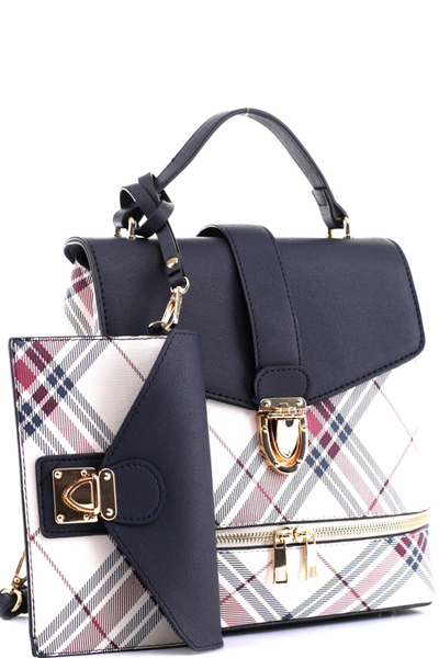 Plaid Checker 2 in 1 Convertible Backpack Satchel