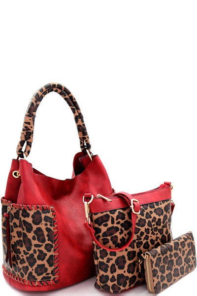 Leopard Print Trim 3 in 1 Hobo Wallet SET