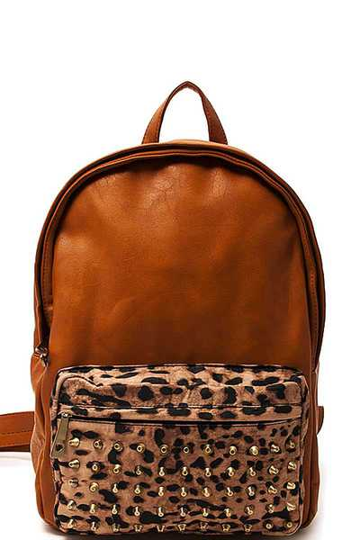 LEOPARD AND STUDDED FRONT BACKPACK