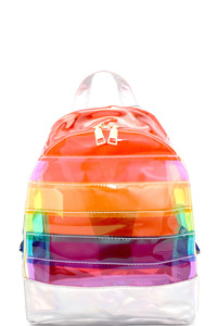 Rainbow Transparent Clear Iridescent Metallic Fashion Backpack