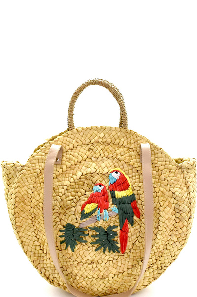 Parakeet Embroidered Woven Straw 2-Way Round Satchel