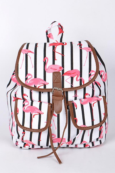 Flamingo Backpack With Pockets