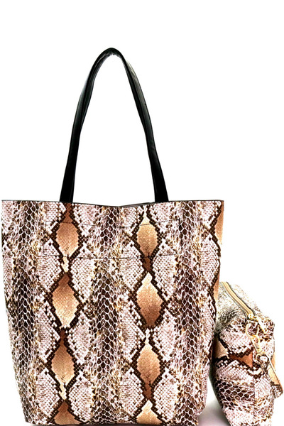 Snake Print 2 in 1 Tall Shopper Tote