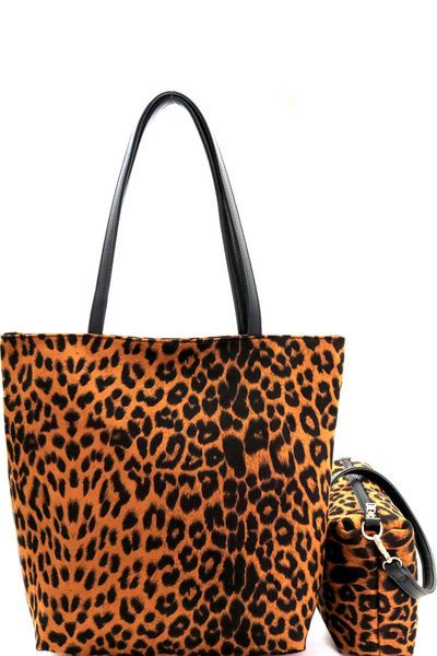 Leopard Print 2 in 1 Tall Shopper Tote