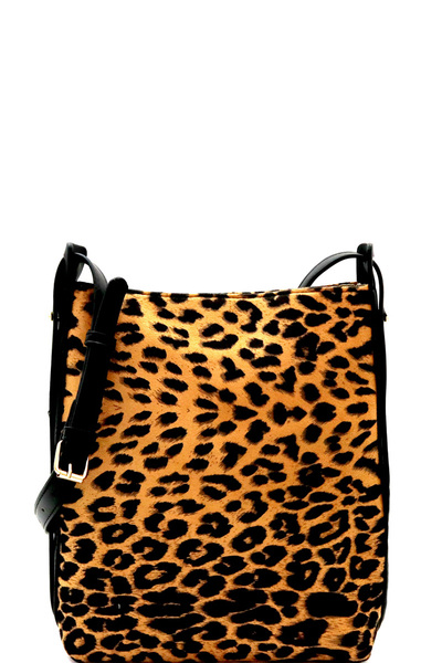 Leopard Print Felt-Suede Bucket Messenger Shoulder Bag