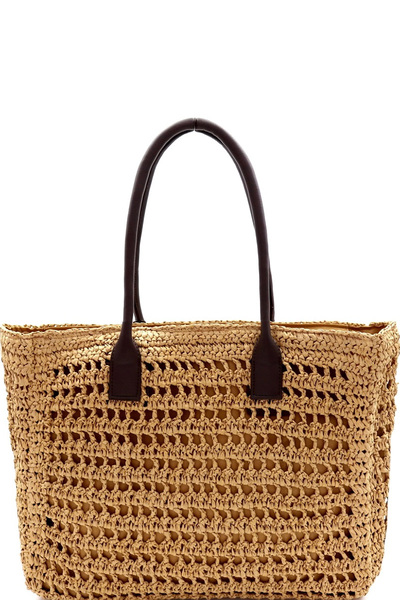 Knitted Straw Two-Tone Oversized Shopper Tote