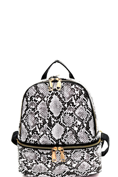 Zipper Decoration Snake Print Fashion Backpack