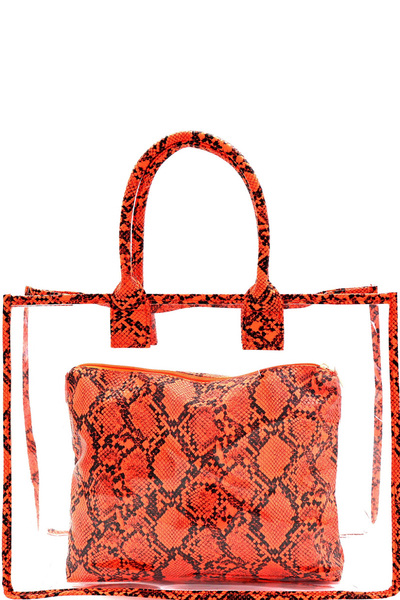 Transparent Clear Snake Print Detail 2 in 1 Tote