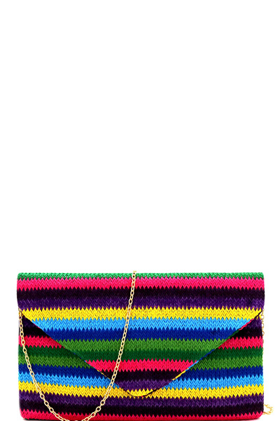 Multi-color Woven Straw Envelope Clutch