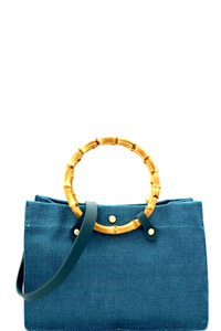 Bamboo Round Handle 2 in 1 Linen Satchel