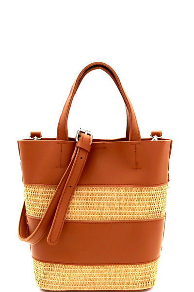 Woven Straw Mixed-Material 2 in 1 Bucket Shoulder Bag