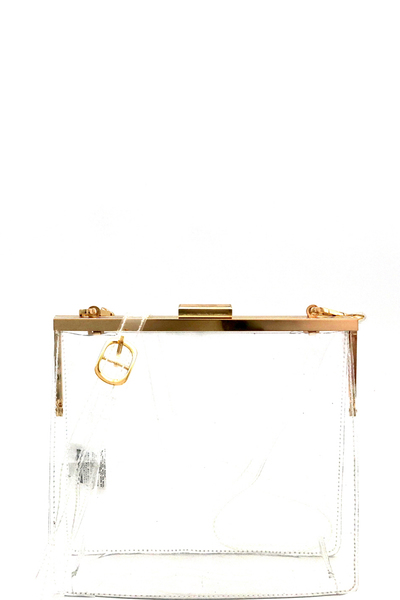 Transparent Clear Frame-Top Shoulder Bag