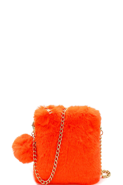 Pom Pom Accent Faux Fur Chain Cellphone Crossbody