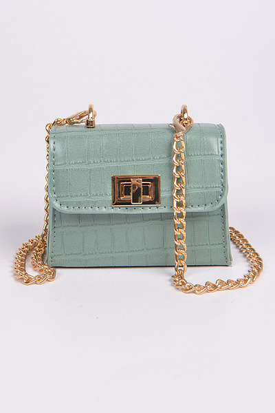 Shine Leather With Cross Chain Body Clutch
