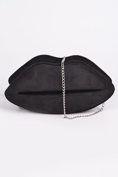 Monotone Suede Lip Clutch