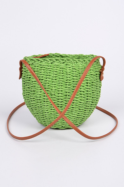 Straw Leather Strap Body Clutch