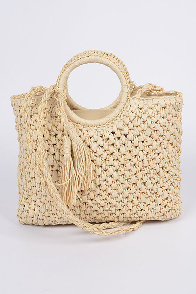 Straw Like Basket Tassel Clutch