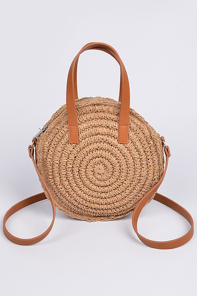 Round Straw With Shoulder Leather Strap Clutch