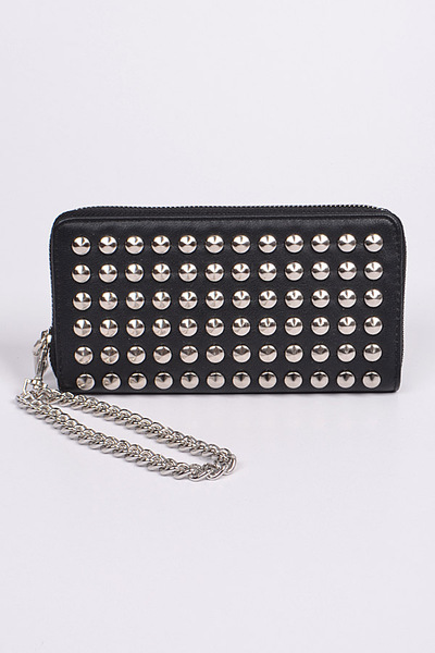 Studded Wallet With Chain